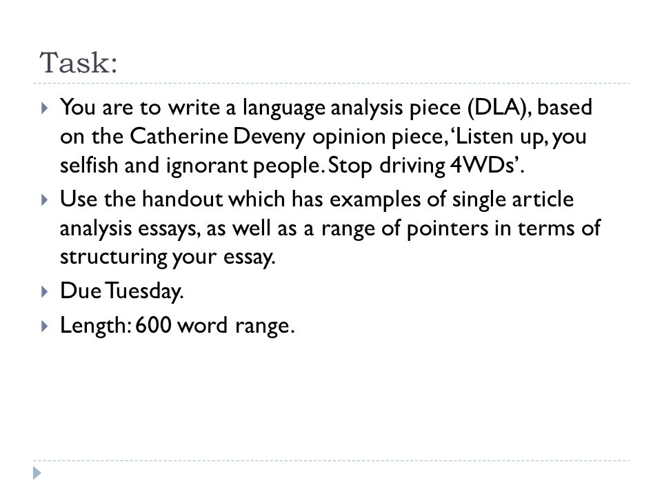 write language analysis essay vce Language analysis essay writing 1 summaryyour task it to look closely at the language and images and explain how they areused to persuade the reader to agree with the author's point of view (contention).