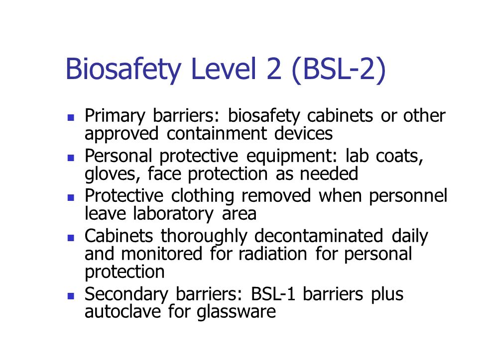 recommended biosafety levels for infectious agents Summary of biosafety levels recommended for infectious department of environmental safety, sustainability & risk department of environmental safety.