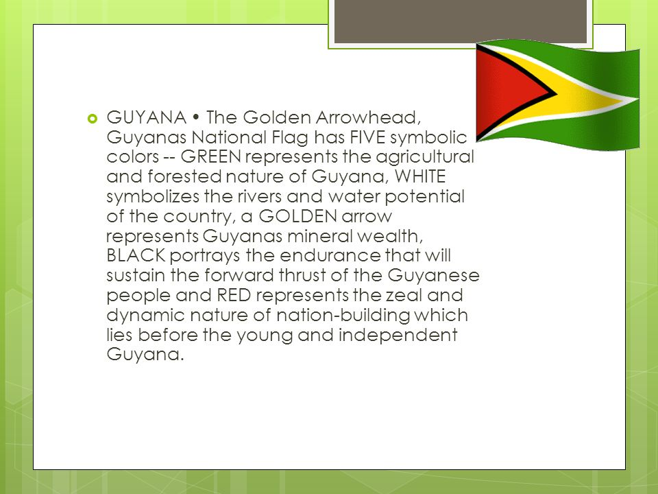 GUYANA • The Golden Arrowhead, Guyanas National Flag has FIVE symbolic colors -- GREEN represents the agricultural and forested nature of Guyana, WHITE symbolizes the rivers and water potential of the country, a GOLDEN arrow represents Guyanas mineral wealth, BLACK portrays the endurance that will sustain the forward thrust of the Guyanese people and RED represents the zeal and dynamic nature of nation-building which lies before the young and independent Guyana.