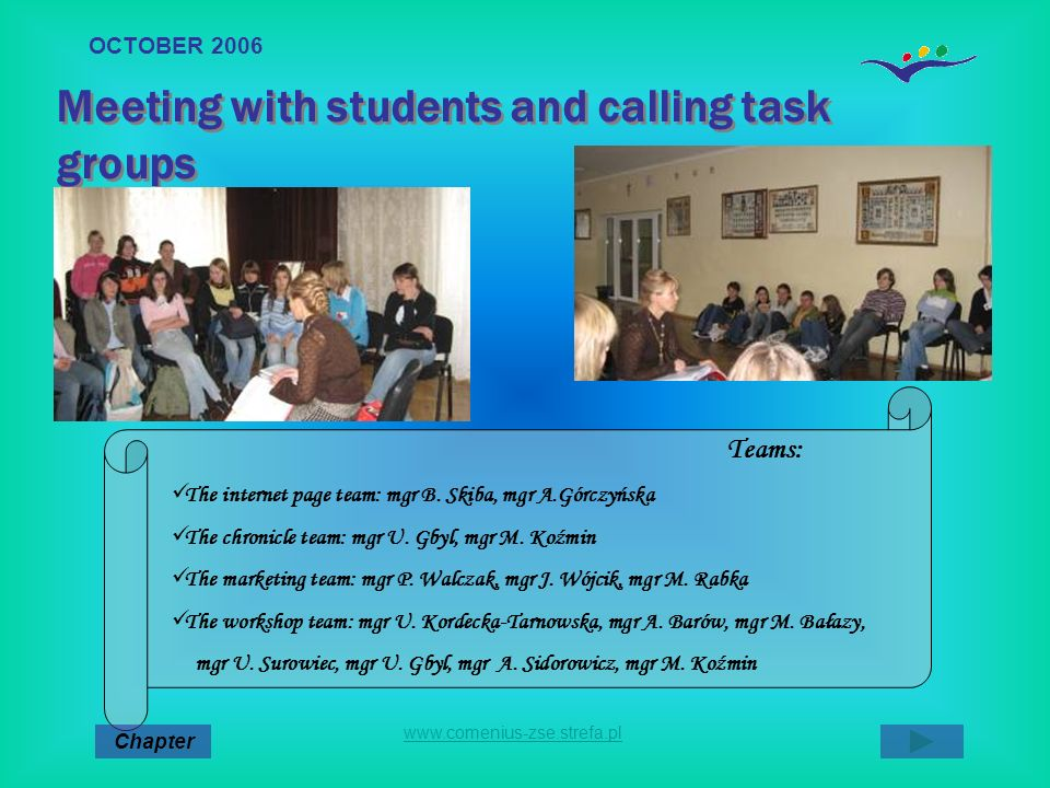 Meeting with students and calling task groups