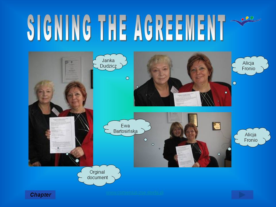 SIGNING THE AGREEMENT Chapter Janka Dudzicz Alicja Fronio Ewa
