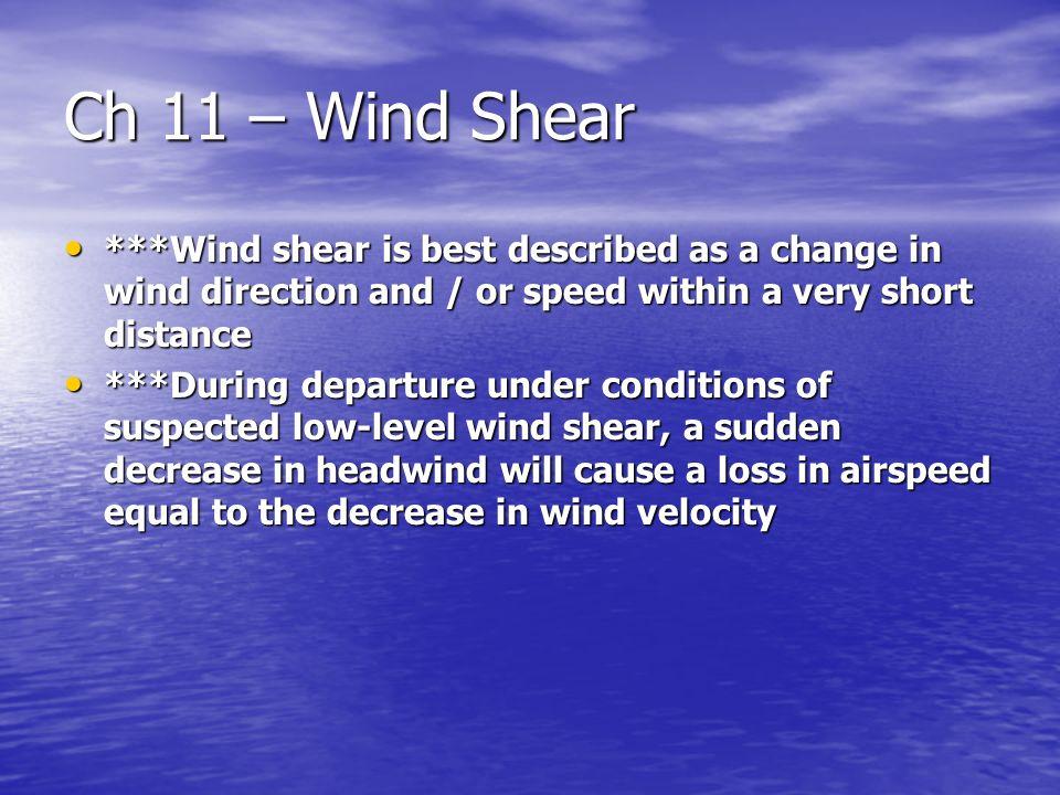 Ch 11 – Wind Shear. Ch 11 – Wind Shear Ch 11 – Wind Shear Section ...