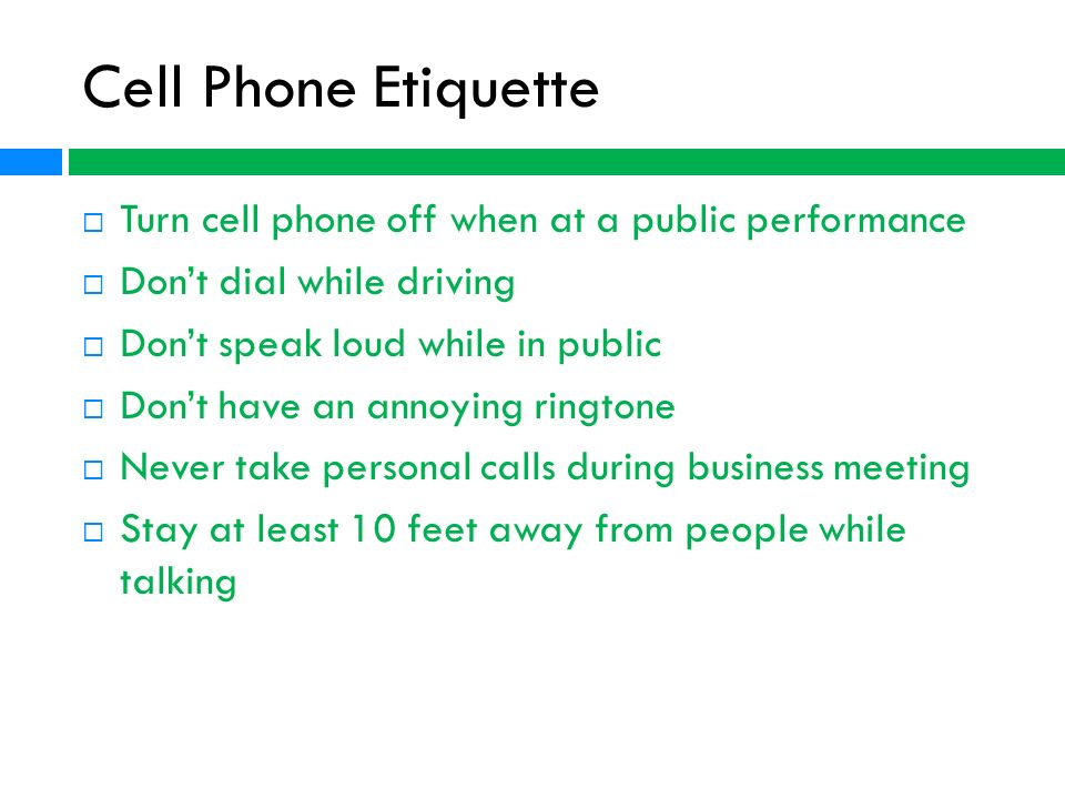 Cell Phone Use While Driving >> Cell Phone etiquette Brent Martin. - ppt video online download