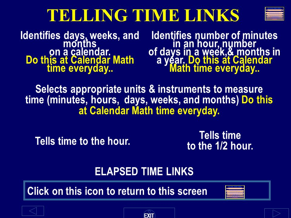 TELLING TIME LINKS Identifies days, weeks, and months on a ...