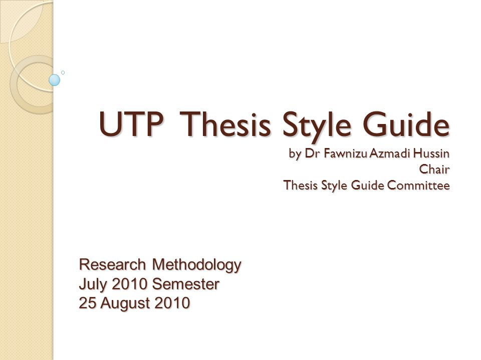 presentation and style of thesis Preparation of a thesis thesis components a thesis can be written and organized either in the traditional monograph style or the manuscript (article) based style.