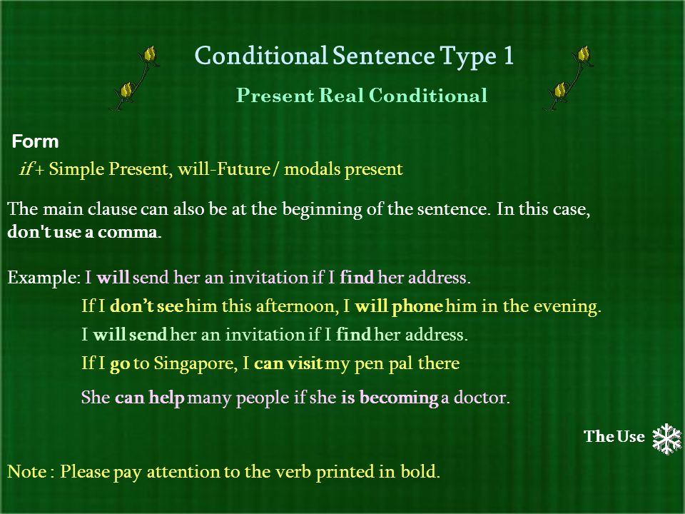 Conditional sentences ppt download conditional sentence type 1 stopboris Image collections