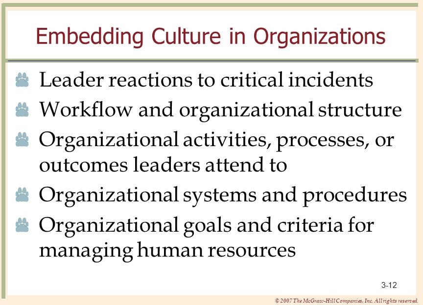 Embedding Culture in Organizations