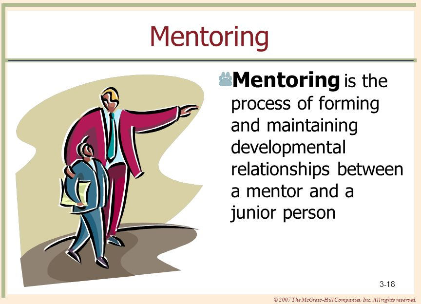 Mentoring Mentoring is the process of forming and maintaining developmental relationships between a mentor and a junior person.