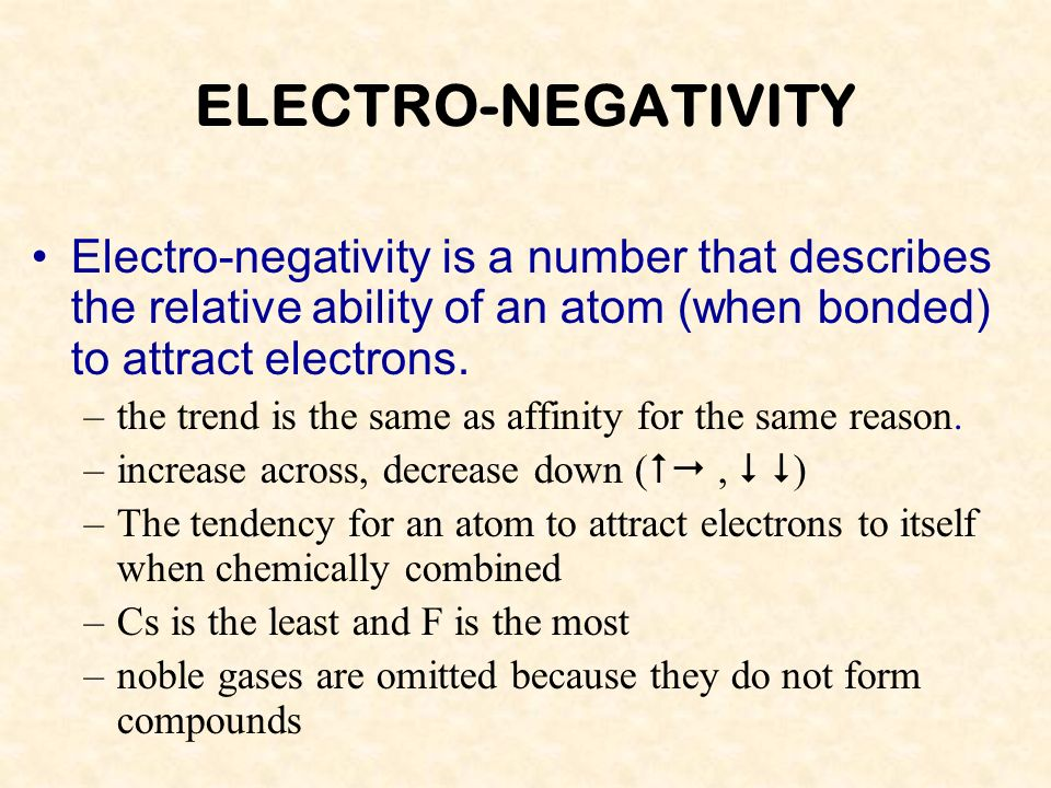ELECTRO-NEGATIVITY Electro-negativity is a number that describes the relative ability of an atom (when bonded) to attract electrons.