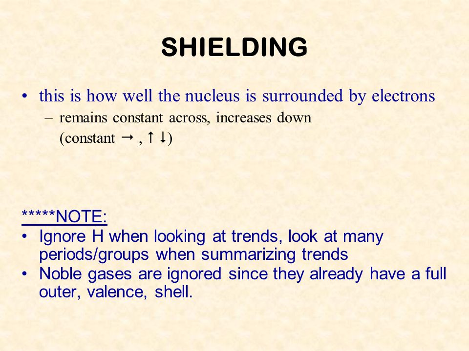 SHIELDING this is how well the nucleus is surrounded by electrons