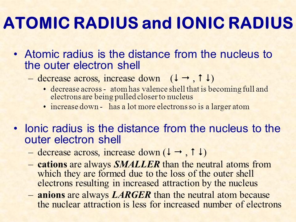 ATOMIC RADIUS and IONIC RADIUS