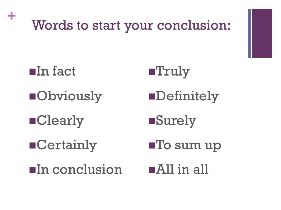 sentence to start a conclusion