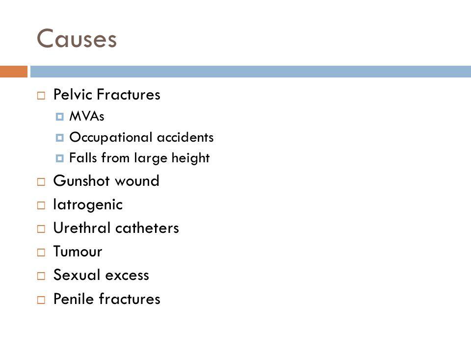 Causes Pelvic Fractures Gunshot wound Iatrogenic Urethral catheters
