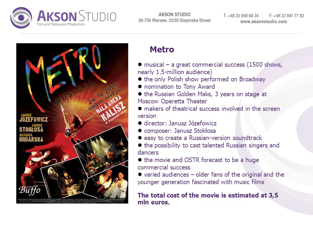 Metro musical – a great commercial success (1500 shows, nearly 1.5-million audience) the only Polish show performed on Broadway.