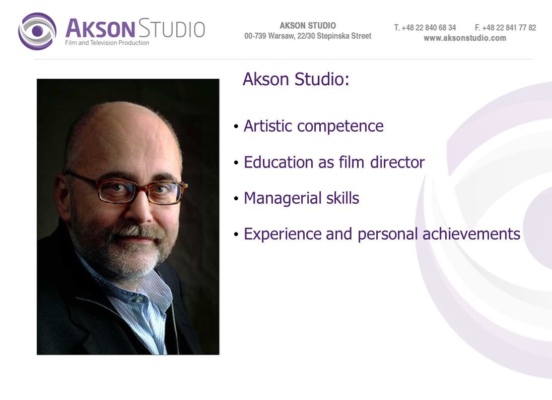 Akson Studio: Artistic competence Education as film director