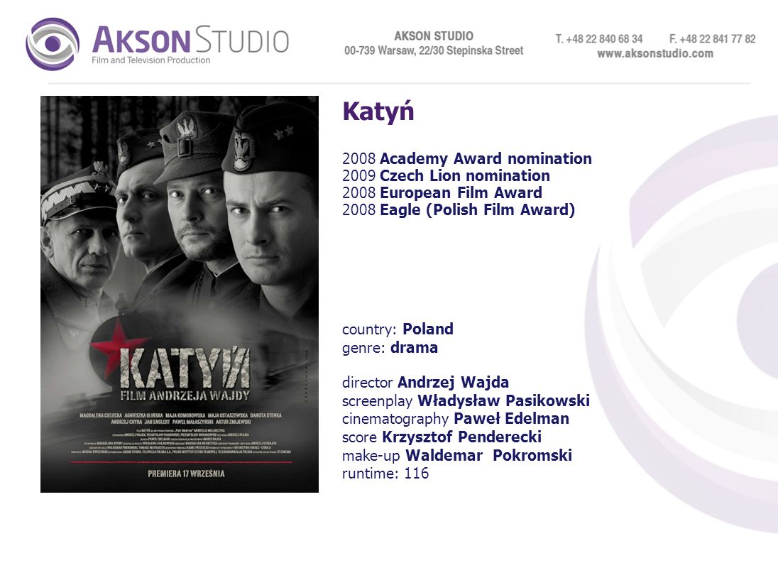Katyń 2008 Academy Award nomination 2009 Czech Lion nomination