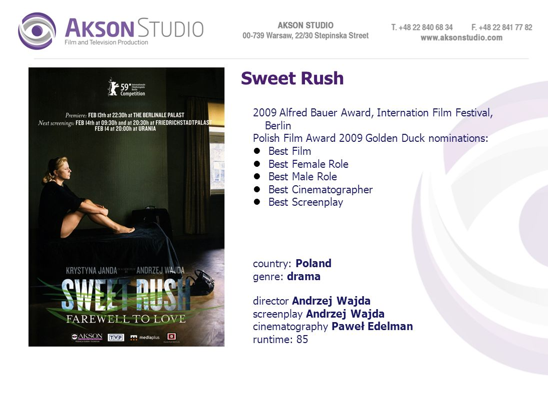 Sweet Rush 2009 Alfred Bauer Award, Internation Film Festival, Berlin