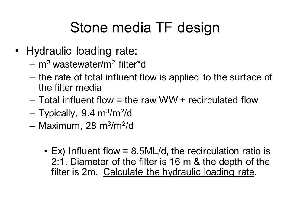 Stone media TF design Hydraulic loading rate: