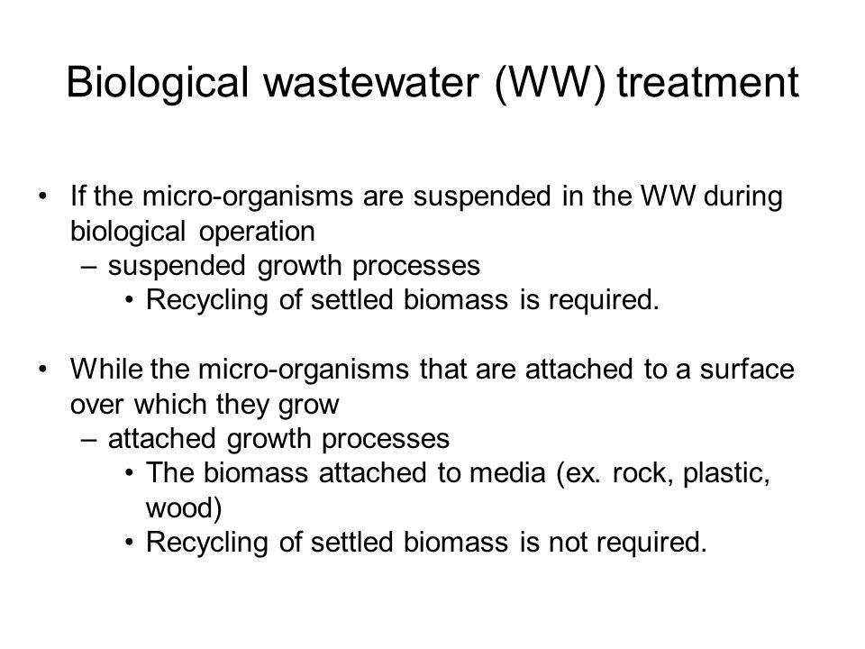 Biological wastewater (WW) treatment