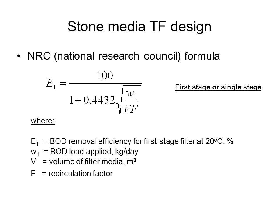 Stone media TF design NRC (national research council) formula where: