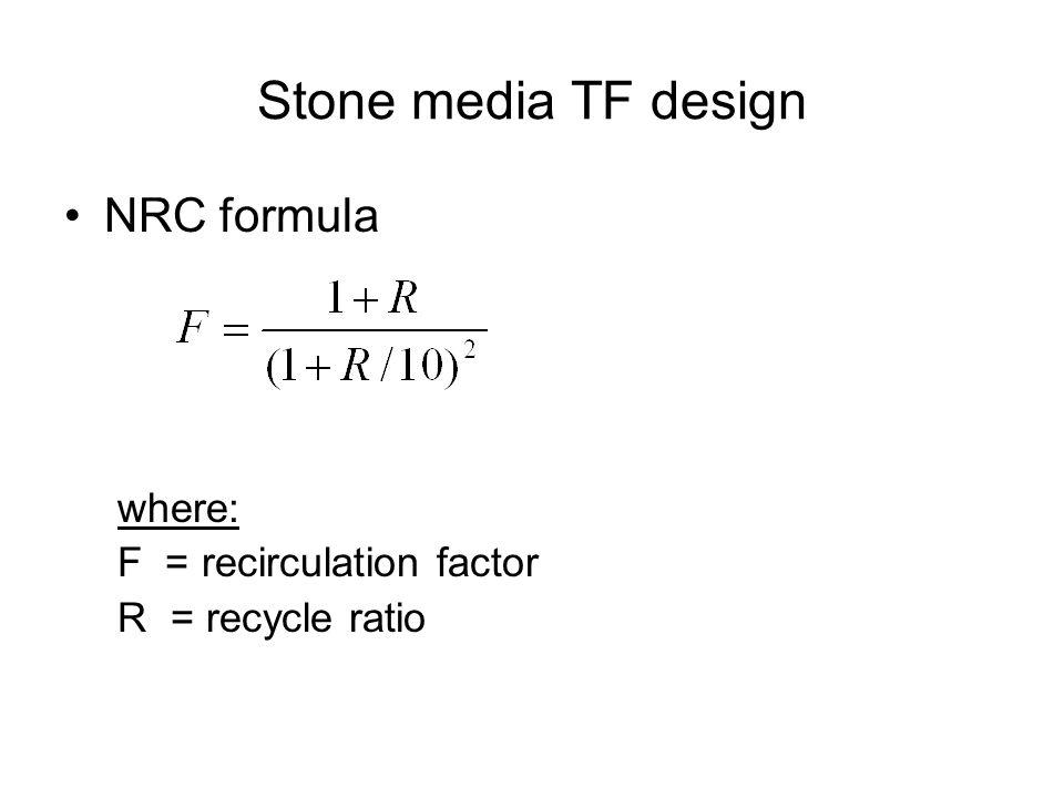 Stone media TF design NRC formula where: F = recirculation factor