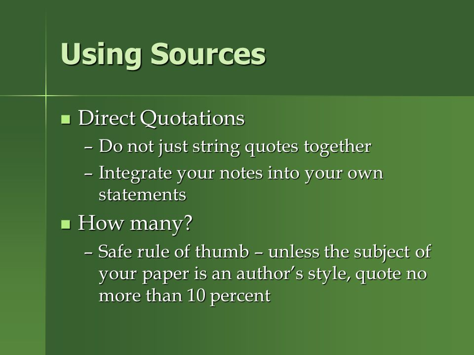 direct quotes for research paper All three require an in-text (parenthetical  you using direct quotes in a research paper may paraphrase.