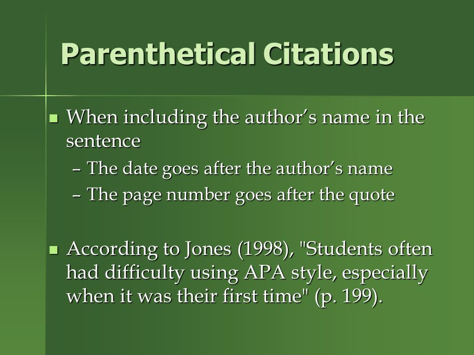 research paper parenthetical citations In mla style, referring to the works of others in your text is done by using what is known as parenthetical citation this method involves placing relevant source information in parentheses after a quote or a paraphrase the source information required in a parenthetical citation depends (1) upon.