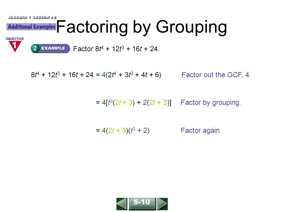 Factoring by Grouping Find the GCF of the terms of each polynomial ...