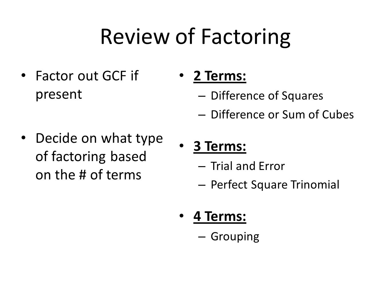 Review Of Factoring Factor Out Gcf If Present
