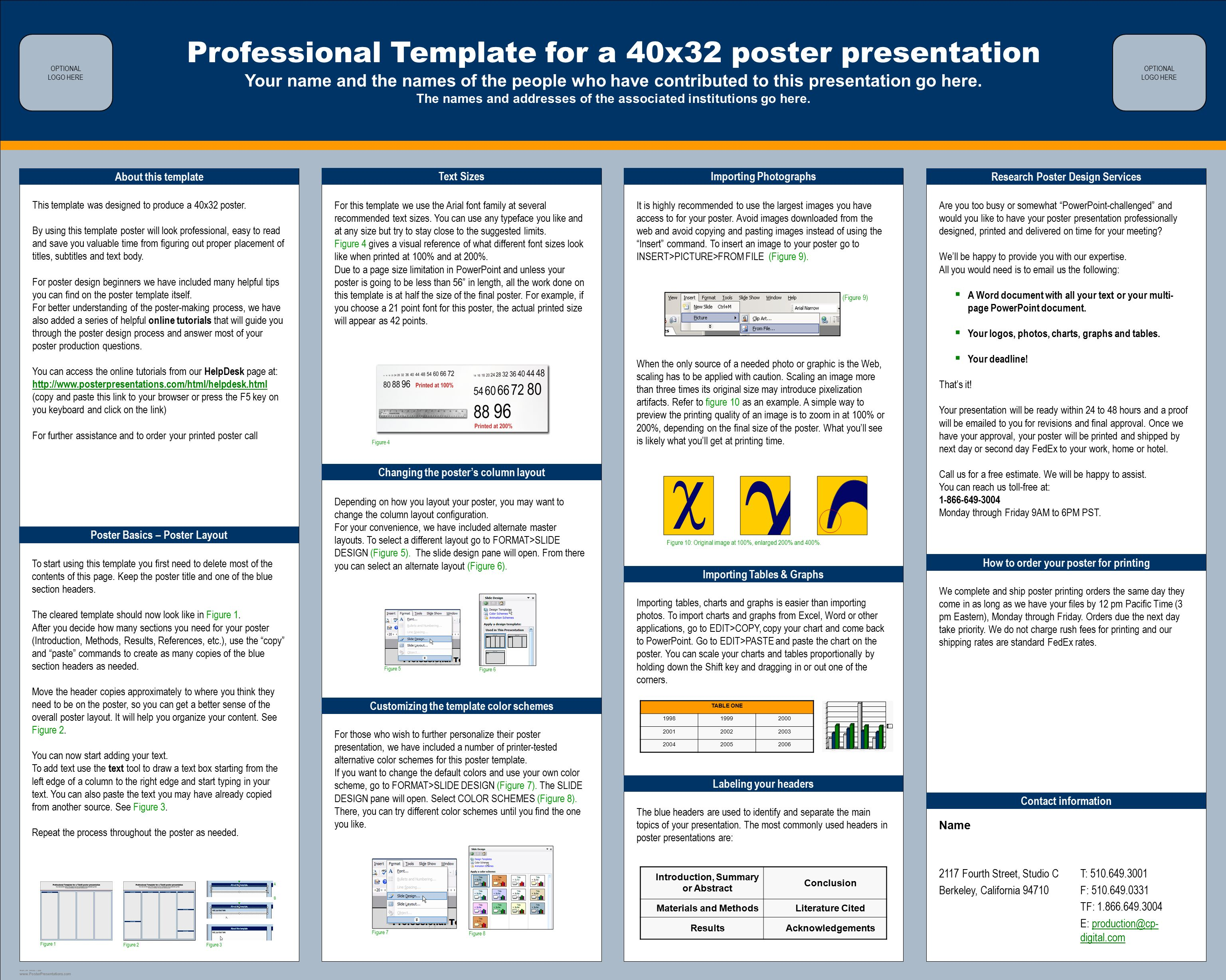 Professional template for a 40x32 poster presentation for Posterpresentations com templates