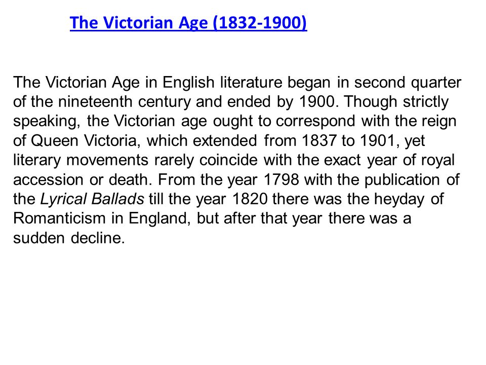 an analysis of the victorian period which started in 1832 Free essay: the romantic age and victorian period had many similarities, but they had just as many or more differences they first the romantic period was from 1784 until 1832, it brought a more brave, individual, and imaginative approach to both literature and life during this time (miller) the victorian era started.