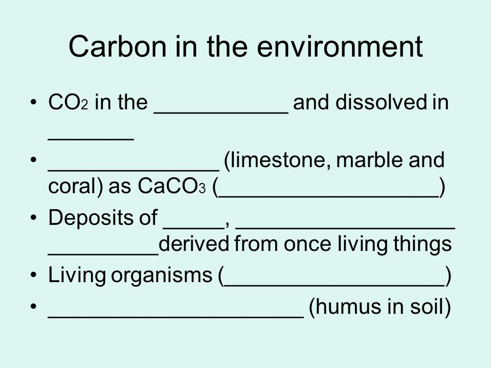 Carbon in the environment