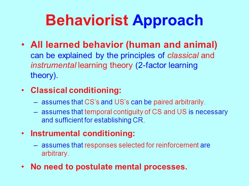 compare behaviorist and humanist learning theories In 1956, an extraordinary symposium was held in which carl rogers (the  humanist psychologist) and b f skinner (the great behaviourist).