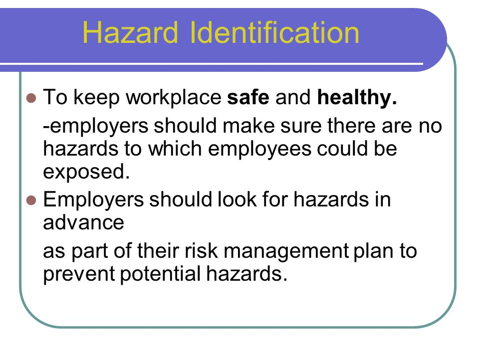 hazards and risk in the workplace This guide aims to help you assess and manage health and safety risks in the  workplace risk management is an important way to protect your workers and  your.