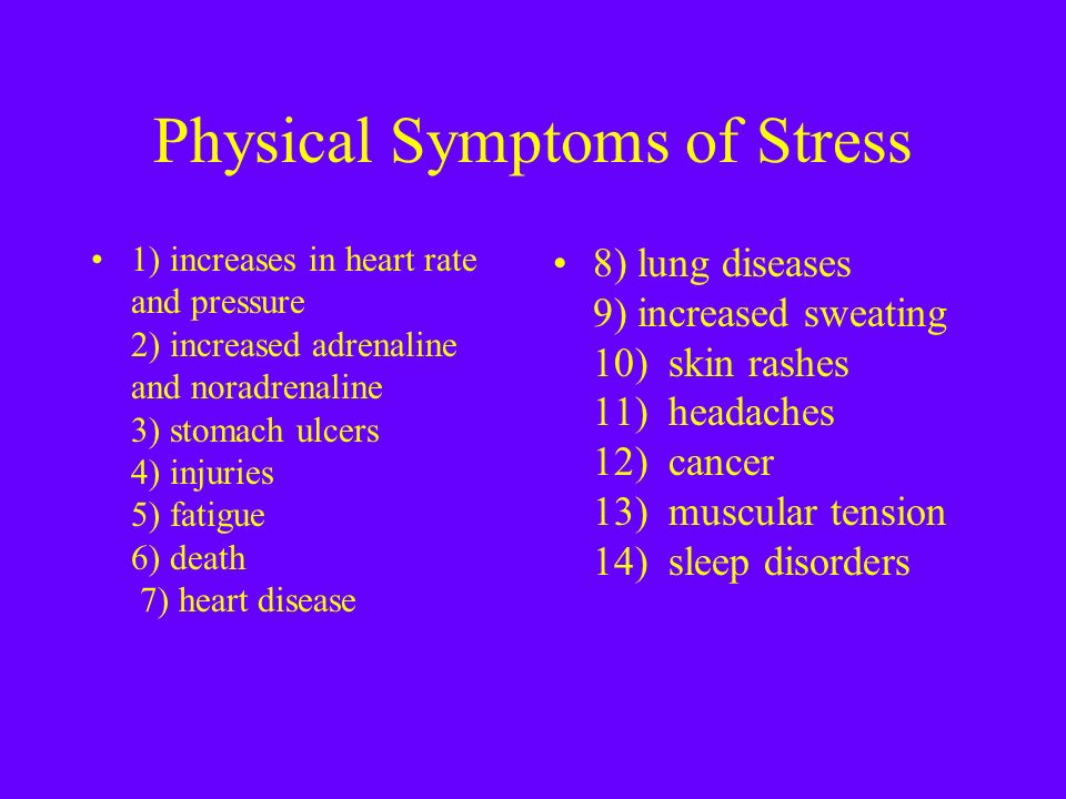 Physical and Mental Signs of Stress