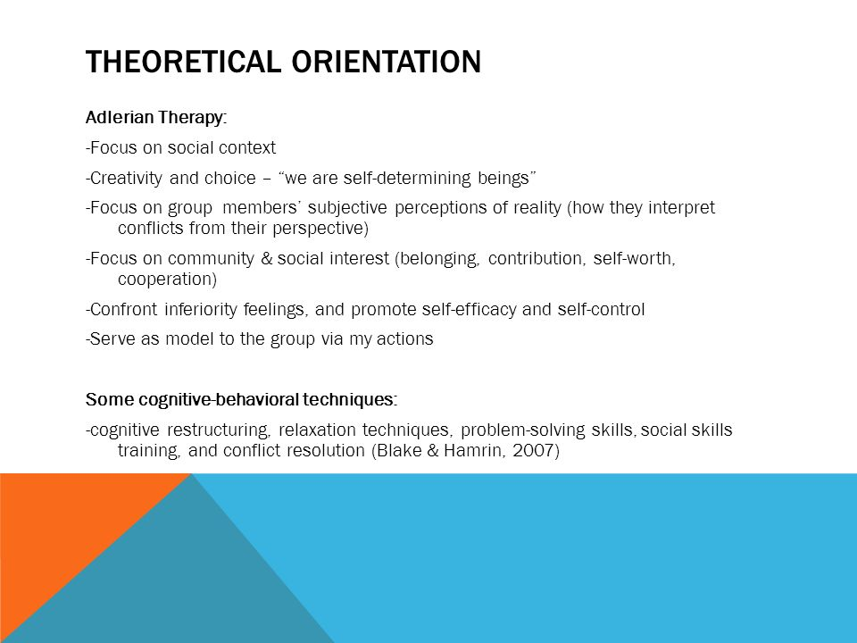 theoretical orientation to counseling Theoretical orientation scale (tos)the author has devised the theoretical orientation scale (©smith, 2010) to help you determine your theoretical orientation in.