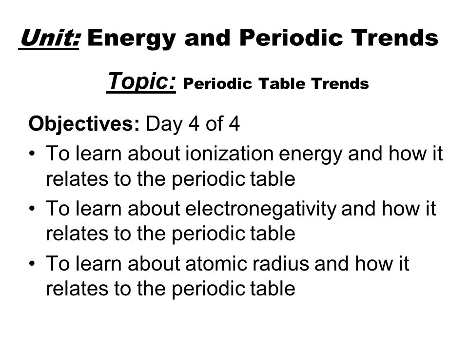topic periodic table trends - Periodic Table Lesson Plan Objectives