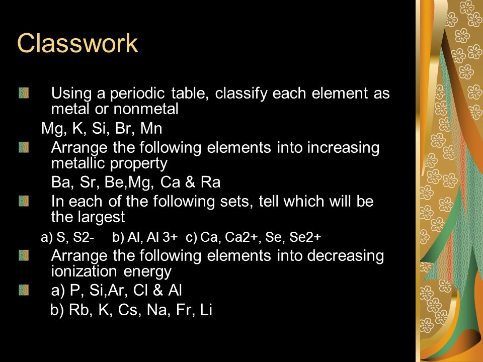 Atomic properties and the periodic table ppt download classwork using a periodic table classify each element as metal or nonmetal mg urtaz Gallery
