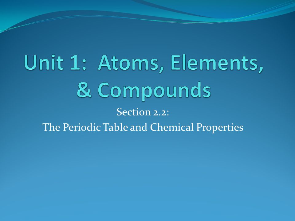 Unit 1: Atoms, Elements, & Compounds