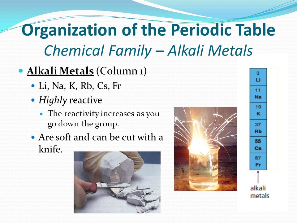Organization of the Periodic Table Chemical Family – Alkali Metals