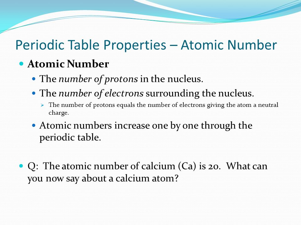 Periodic Table Properties – Atomic Number