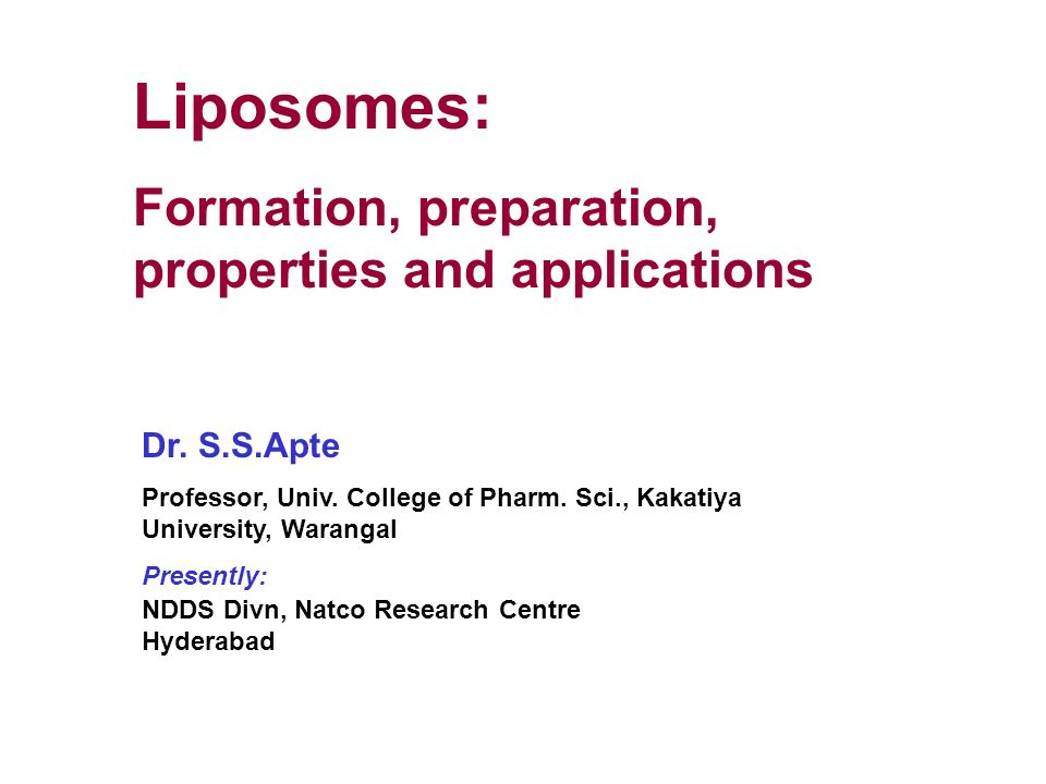L iposomes:a n ovel drug delivery system 1. I ntroduction.