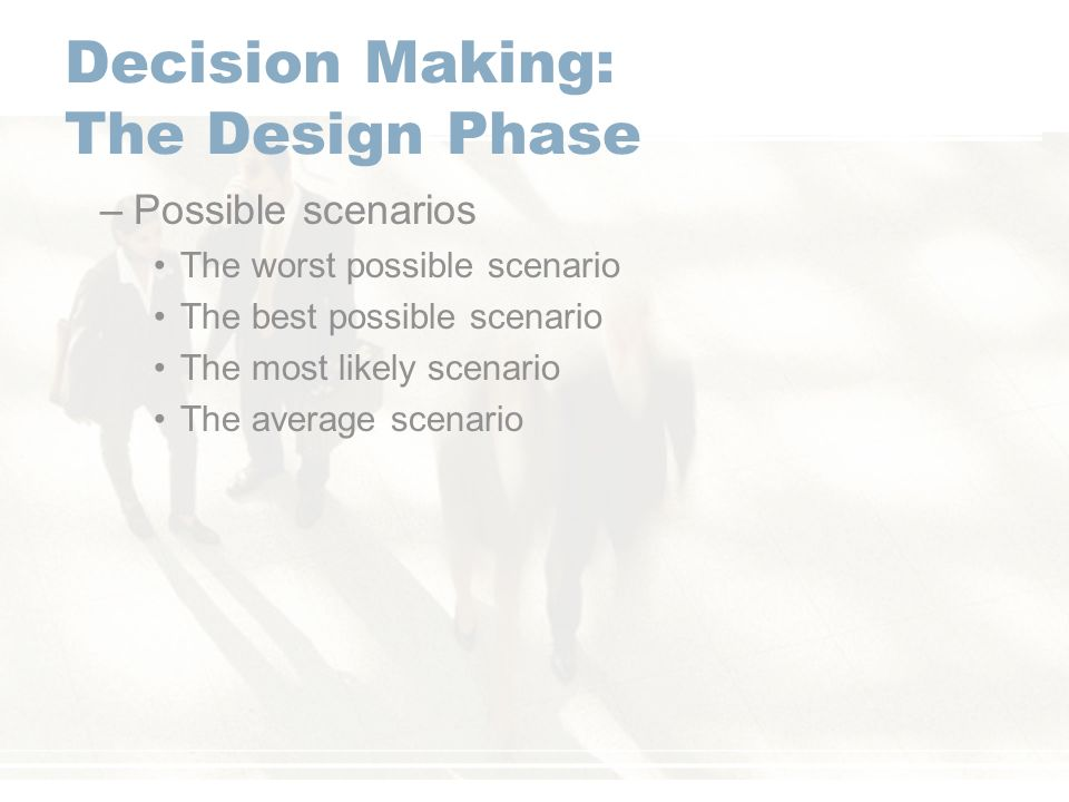 decision making scenarios in business Business intelligence expert david loshin outlines how to develop effective business decision-making models by identifying key decision points in a business process flow.