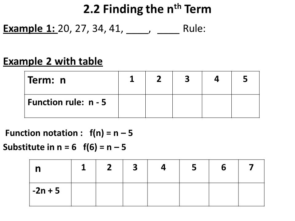 Warm up with 2 2 finding the nth term ppt video online for Table th nth
