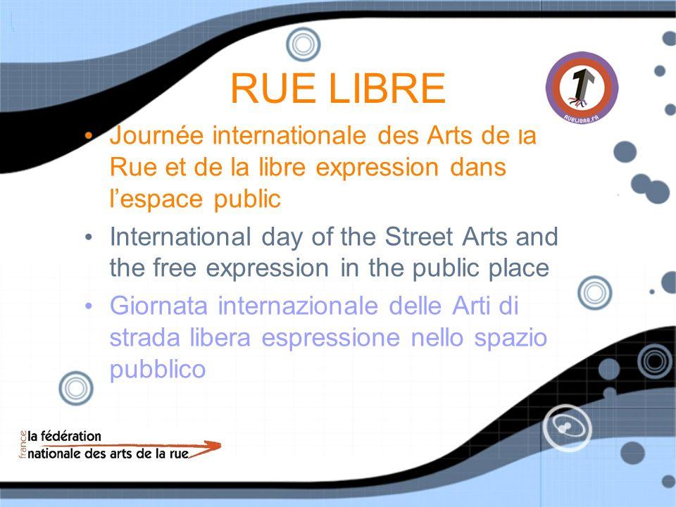 RUE LIBRE Journée internationale des Arts de la Rue et de la libre expression dans l'espace public.