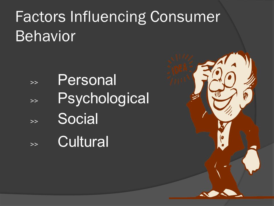 psychological factors affecting consumers' purchasing decisions of The influence of cultural factors on consumer buying  the affect of cultural factors on consumer buying behaviour is investigated  • who influences our .