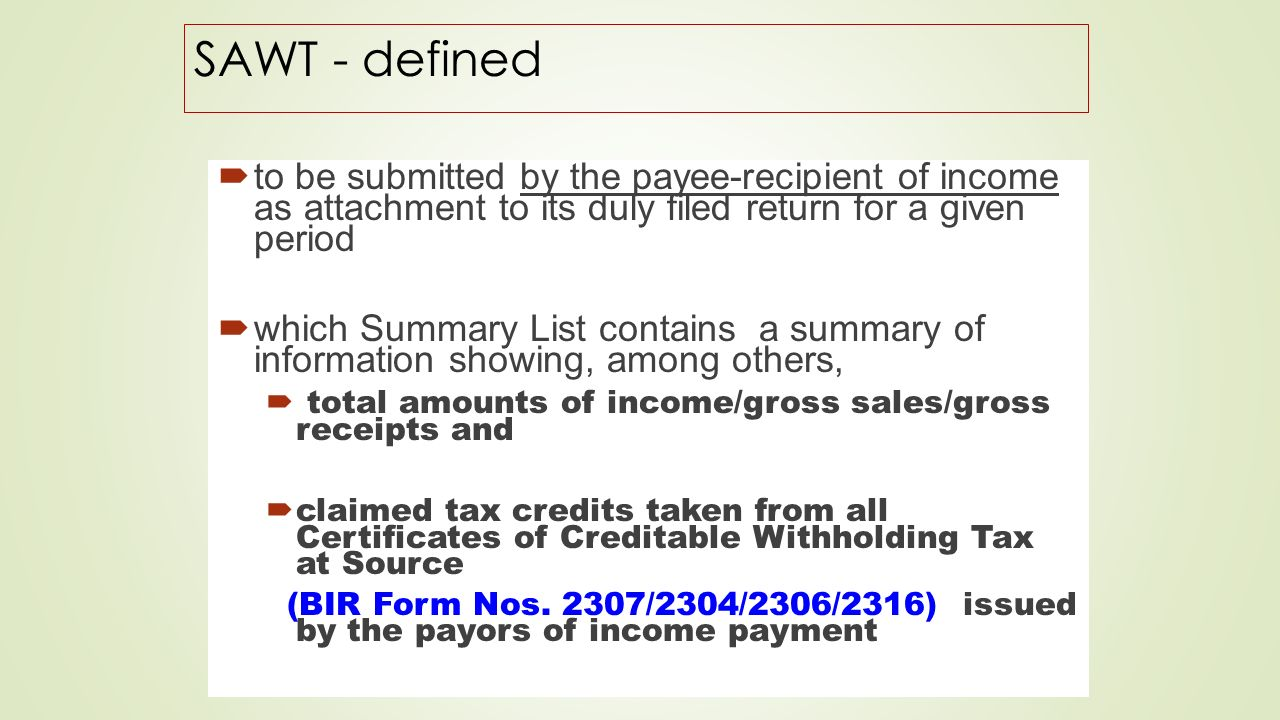 Withholding tax on government money payments ppt video online 14 sawt yelopaper Choice Image
