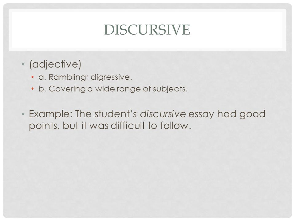 discursive essay topics alcohol The discursive essay purpose is to provide a reliable and unbiased assessment of an issue similar to the argumentative essay , the essay topic might be controversial, yet the discursive essay pursuits to show a more balanced discussion.