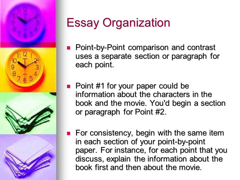 point by point structure in essay The difficulty of this structure is that the comparisons and contrast do not become evident till the end of the essay a point by point structure is very clear what you are comparing and contrasting, however you must be careful in clearly identifying which subject you are referring to as it can become easy to confuse them.