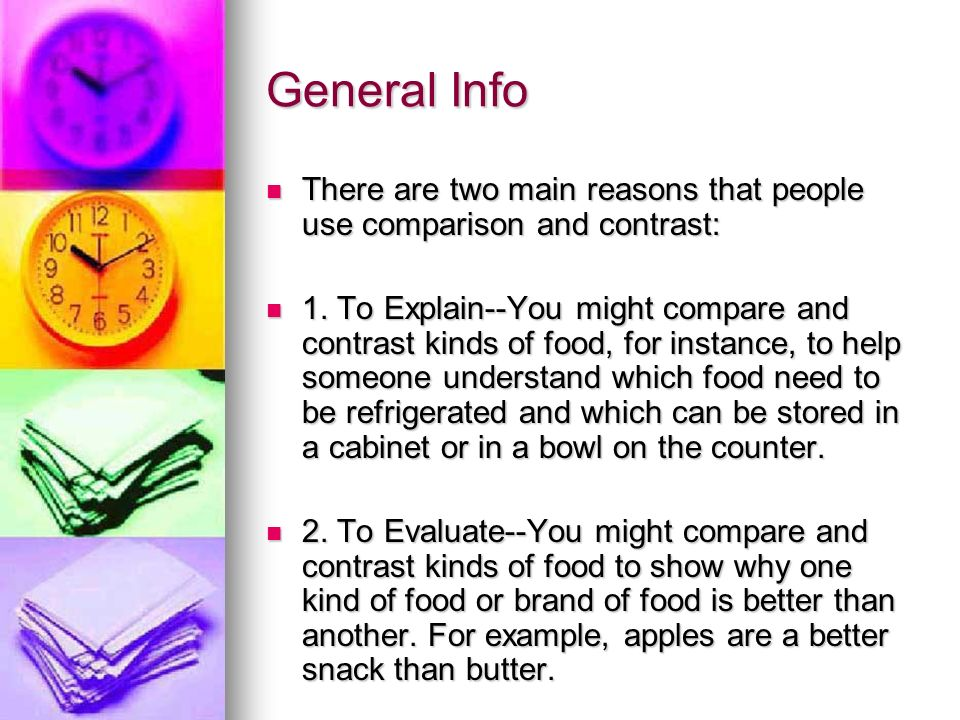 Compare contrast essay about food